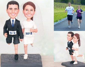 Personalised wedding cake topper - Runner topper  (Free shipping)