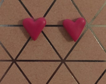 Tiny Hot Pink Heart Shaped Stud Earrings