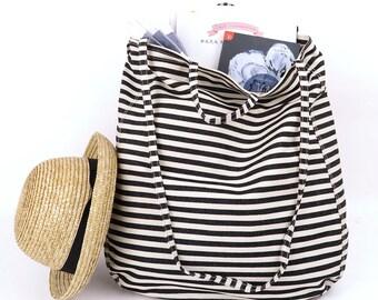 Oversize Tote Bag,stripes,shoulder bag,tote,bags,crossbody bag,shopping bag,gift,Bags and Purses,black&white