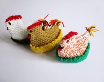 SALE 25%  Set of 3 vintage egg cozies handmade crochet chicken, Easter breakfast table decoration