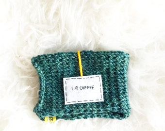 Onana Knit Teal Blue Mug Cozy, Coffee Lover Cup Cozy, Knit Mug, Womens Gift, Personalized Gift, Coffee Cozy, Knitted Coffee Sleeve