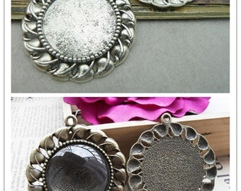 10PCS 30mm Antique Bronze/ Antique Silver Round Bezel Cup Cabochon Mountings Pendant Trays AC6204