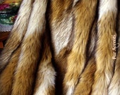 Faux Fur Fabric Yardage / Cutting / Swatch / Sample/ Piece / Remnants / Brown and Cream Coyote Stripe Shag