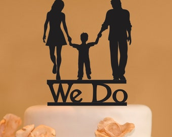 Man Woman And Child Wedding Cake Topper