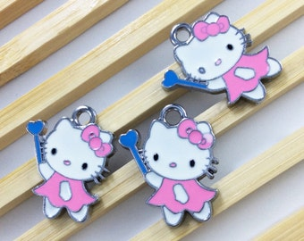 10  pcs kitty Charms ,Hello kitty pendant colors enamel  18mm *23m