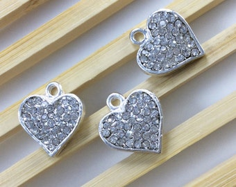 10   pcs Rhinestone Heart Charms , Heart Pendants. Love charms