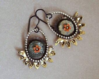 Earrings, brass, silver, roman glass * 692
