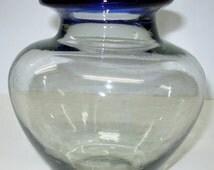 """Sale Art Glass Squat Vase Clear Glass Cobalt Blue Rim Bubbles Modern Flower Floral 6"""" H"""