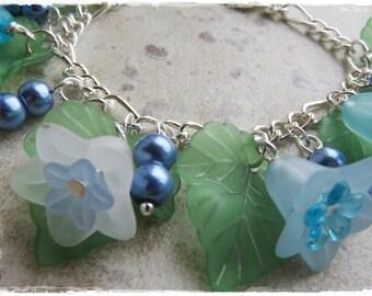 Bluebell bracelet, Bluebell charm bracelet, Lucite flower bracelet, Blue flower bracelet