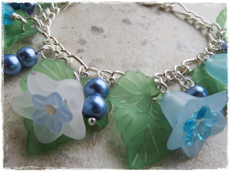 bluebell bracelet bluebell charm bracelet lucite flower