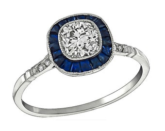 Vintage 0.65ct Diamond Sapphire Engagement Ring