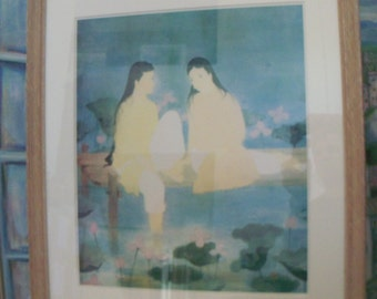 Dinh Tho Vietnamese French Artist Signed Fine Art Framed Print Called Nenuphars