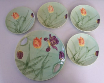 Germany Sandwich Plate & 4 Salad Plates Tulip Design