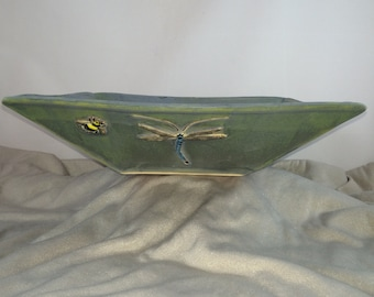 Dragonfly square ceramic bowl