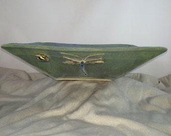Dragonfly square ceramic bowl