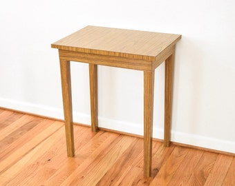 mid century accent table, modern end table, wood end table, unique mid century modern wood grain laminate accent table, vintage