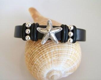 Black Leather Starfish Focal Bracelet - Item R3291