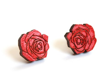 Small Red Rose Studs, Rose Studs, Rose Earrings, Grateful Dead, Wooden Laser Cut Earrings, Flower Earrings