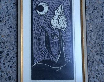 Framed 1964 Modern Wood Block Print