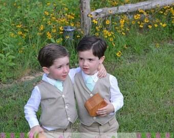 Ring Bearer Vest BEIGE Infant Toddler Boys Sizes thru Youth 10