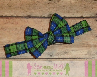 Lime Navy Plaid Bow Tie in sizes Newborn, Infant, Child, Youth, Adult