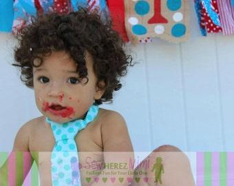 Cake Smash Dr Seuss Inspired Aqua Dot Red Chevron 1st Birthday Diaper Cover Necktie