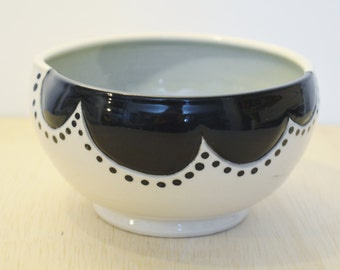 Small Black and white Porcelain Bowl with light Blue interior. Handmade. Ceramic. Pottery. Gift Idea. Housewares. Home decor.