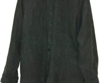 Vintage suede collar button down