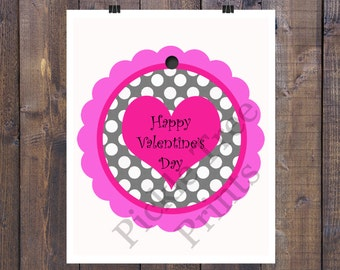 2 inch Pink Scallop Valentine Tags with Black and White Polka Dots  - Instant Download