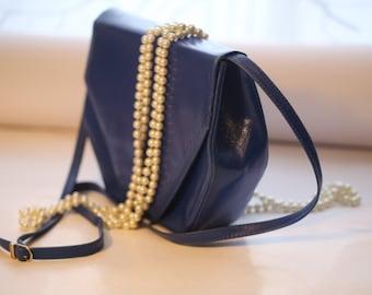 Vintage blue leather handbag, an interesting shape pouch,  Bright blue pocketbook, Beautiful ultramarine leather purse 1980s
