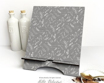 """iPad Stand Large, """"Gray Floral"""" by Iveta Abolina, Floral iPad Mini Stand, Docking Stand Samsung, Smartphone Stand, Cookbook Stand 08."""