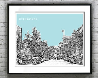 Morgantown WV Skyline Poster Art Print  West Virginia Version 2
