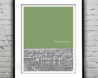Greenwich Connecticut Poster Print Art Skyline CT version 1