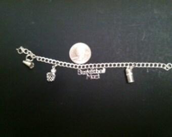 Sterling Silver Double link Charm Bracelet Basketball theme