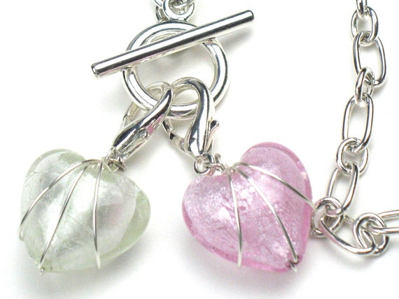 Heart Charm in Multiple Colors with Wire Wrapped Glass Pendant and Lobster Clasp