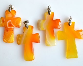 Yellow and Orange Cross Agate Pendant  Size Approx. 55x40x7mm #4-4
