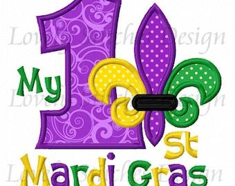 My 1st Mardi Gras Applique Machine Embroidery Design NO:0489