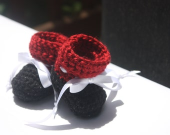 Garnet and Black Baby Booties  - Team Booties