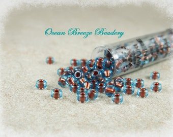 Pearlized Aqua Copper . 6/0 Miyuki Seed Bead . 20 grams