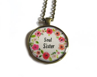 SOUL SISTER NECKLACE - Best friends necklace - Best friend gift - Best friend pendant - Sister necklace
