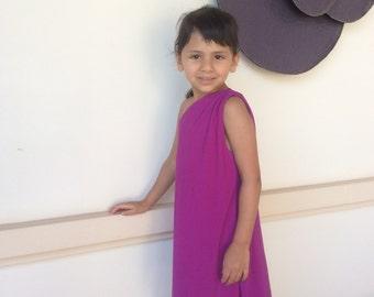 Purple  one shoulder short dress girl dress