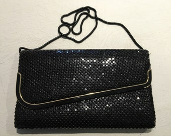 Lovely Vintage 70s 80s Black and Gold Mesh Evening Purse