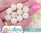 SALE 12mm WHITE AB Rhinestone Beads Bumpy Beads Resin Bling Beads Pavé Beads Sparkle Berry Beads Sparkly Bubblegum Beads Bubble Gum Beads