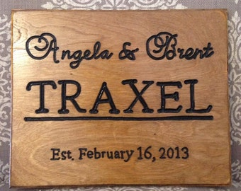 Beautiful Custom Wedding Date Carved sign