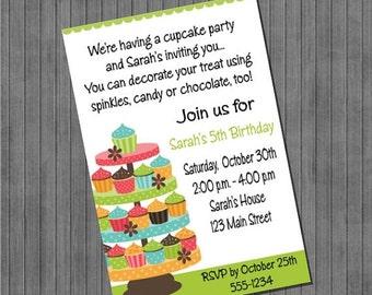FLASH SALE 50% OFF Cupcake Invitations