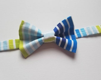 Boys Bowtie - Multi-colored Blue Stripe Fabric - One Size Fits Most Adjustable Bow Tie Infants Toddler Child Tween Boy Men
