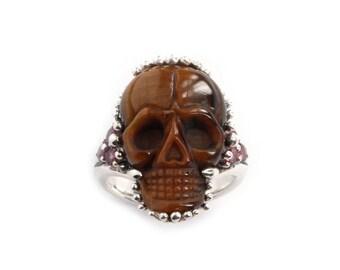 Tiger Eye Skull Ring