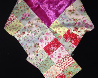Handmade Floral Patchwork Scarf with Roses and Rosebuds