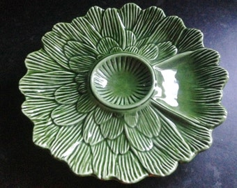 Vintage majolica green glazed pottery serving platter for dip and canapes Made in Portugal no damage