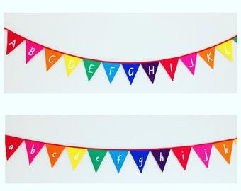 Upper Case Alphabet Rainbow Bunting Banner Flags